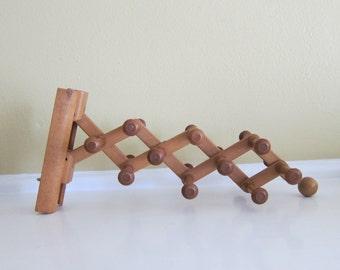 Vintage  Wooden Swank Accordion Retractable Tie Rack