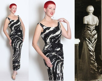 BEYOND FABULOUS 1950's Black & White Tiger or Zebra Print Fully Sequined Extreme Hourglass Evening Gown w/ Bow Detail - Marilyn Monroe - M