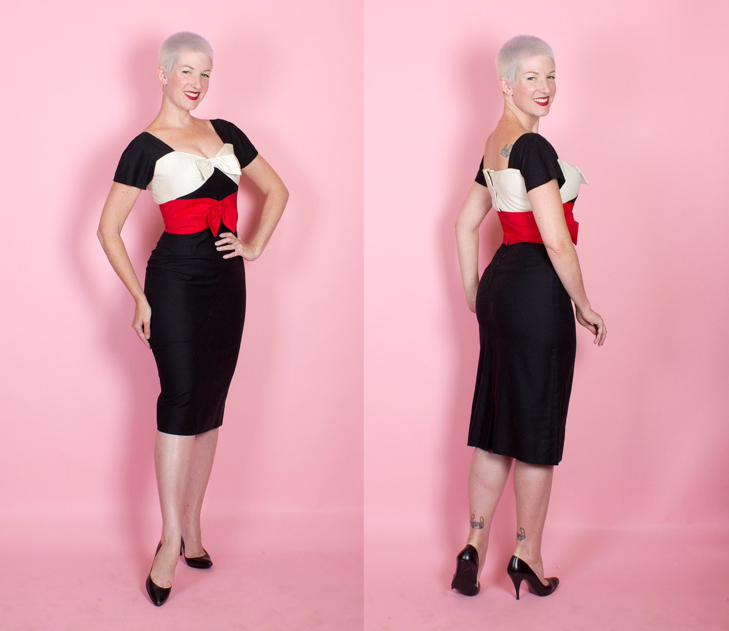 SO CHIC 1950s Designer Inky Black Cotton Pique Hourglass Cocktail Dress w/ White & Red 3D Bow Shelf Bust by Don Loper - Wiggle - Mad Men - M