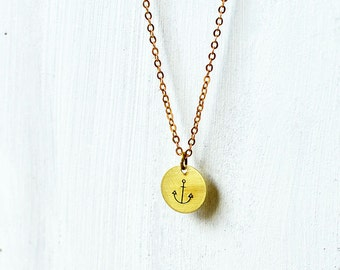 ANCHOR necklace // raw brass long necklace // hand stamped jewelry