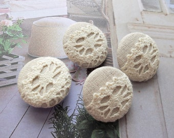Fabric Covered Buttons - Chic Embroidery Crochet Country Beige Sunflower Floral Flowers (4Pcs, 0.98 Inch)