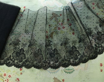 """Antique silk chantilly French 9"""" wide dot lace black trim lovely airy tulle  millinery French dolls dress"""