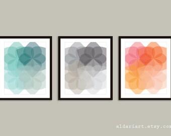 Geometric Flowers Prints - Mid Century Modern Wall Art - Set of 3 - Geometric Art - Blue Grey Coral Colors - Aldari Art