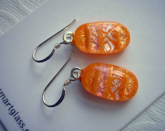 Fused Glass Earrings Bright Orange with Stripes Dichroic Glass Jewelry Pierced Earrings Glass Earrings Orange Earrings Fall Earrings Dichro