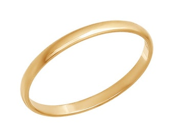 9K Solid Gold Ring,Thin  Stackable Band- ElenadE