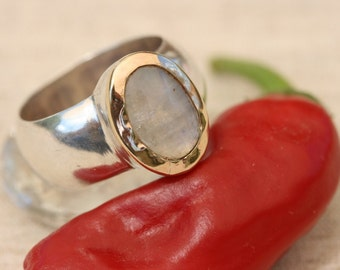 Moonstone Ring, Silver Ring, Silver Rings,  Silver  and Gold Ring, Moon Stone Jewelry, June Birthday Stone,US  Size 9 1\2