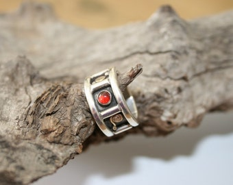 Wide Ring ,Solid  Silver Ring, Garnet Ring, Citrin Ring, Handcrafted Ring, Sterling Silver  Ring, Statement Ring, Wide Silver Band,