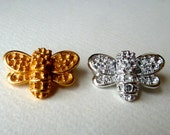 Bee Pin Brooch with Settings for Rhinestones - Honey Bee, Bumble Bee - 25x18mm - Strong Solid High Quality Vintage Casting