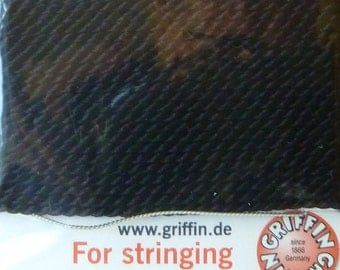 Size 2 Black Silk Beading Cord with Needle Attached -  Griffin Pure Silk Thread