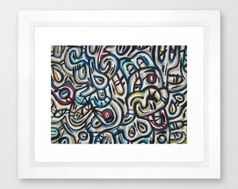 Abstract Jazz Artwork Gallery Quality Decorative Blue Art Print