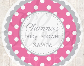 Girls Baby Shower Favor Sticker Labels - Dark Pink and Gray Polkadot - Personalized Baby Shower Favors - Baby Shower Decorations - Set of 24