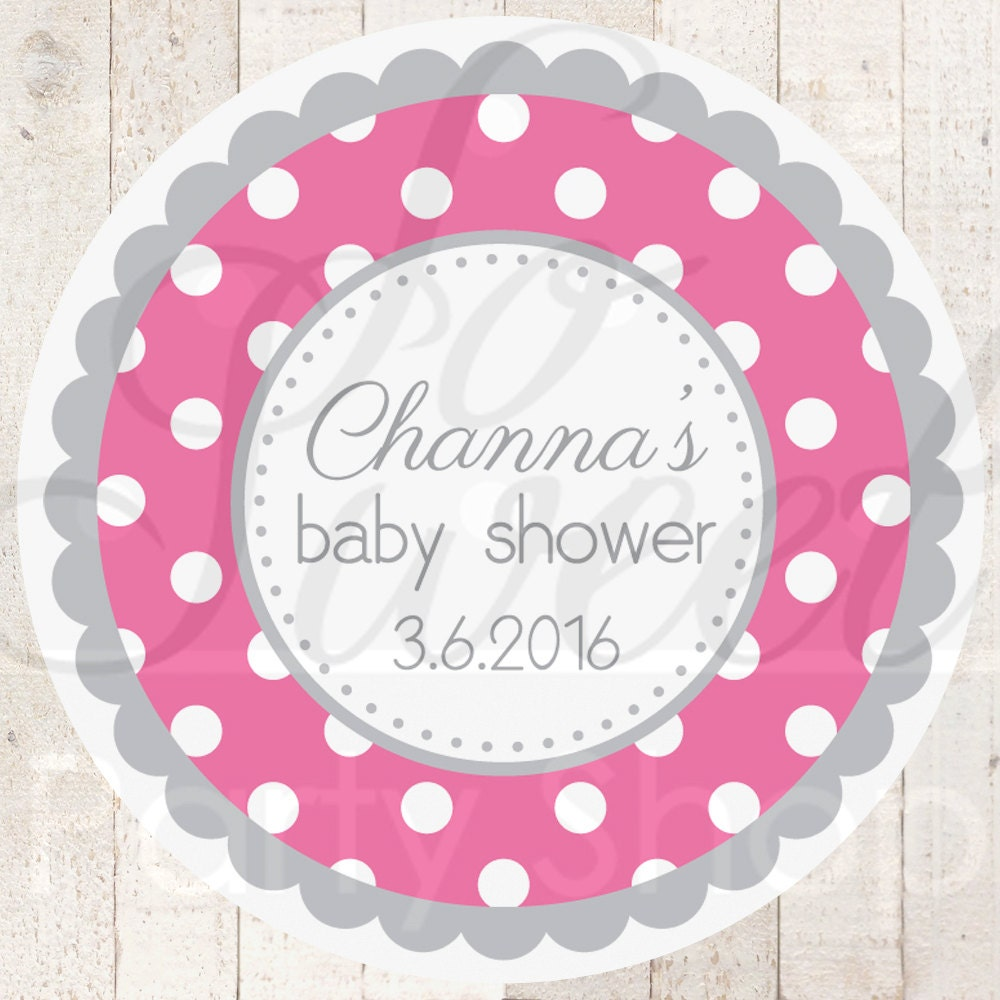 Baby Shower Stickers For Favors: Girls Baby Shower Favor Sticker Labels Dark Pink And Gray