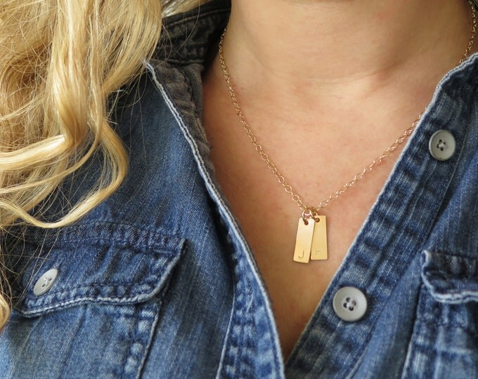 Tiny Initial 14k Gold Fill Tag Necklace Personalized Custom Made Delicate Rectangles Small Hand Stamped by Betsy Farmer Designs