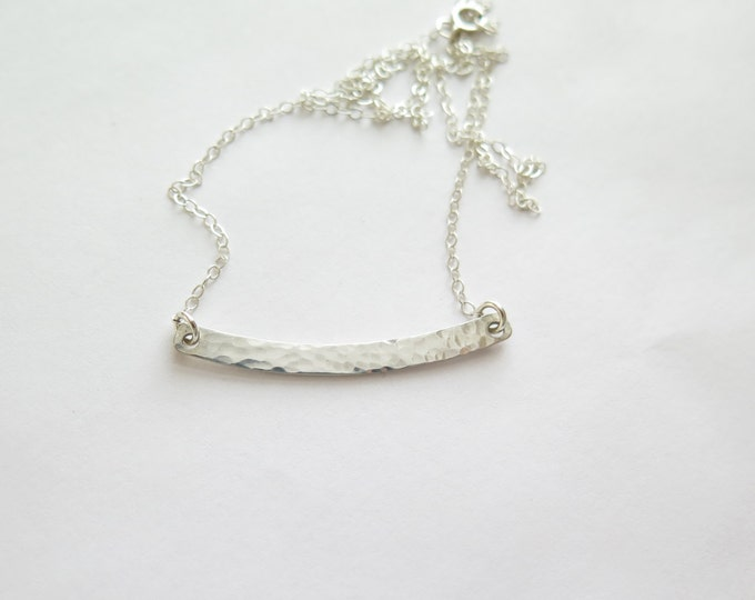 Curved Sterling Silver Bar Necklace - Hammered or Plain Finish - Option to Customized - by Betsy Farmer Designs