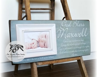 Boy Baptism Gift, Gift For Godchild, Godson Gift, Goddaughter Gift, Girl Baptism Gift, Lay Me Down To Sleep 8x20 The Sugared Plums Frames