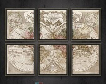 "Vintage 1775 World Map Mappa Totius mundi reproduction on archival matte paper-36""x26"""