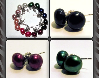Beautiful Black/Maroon/Green Real Pearl Studs