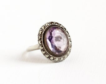 Sale - Vintage Art Deco Sterling Silver Amethyst & Marcasite Halo Ring - 1930s Size 6 Purple Gemstone February Birthstone Statement Jewelry
