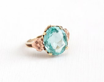 Vintage 10k Yellow & Rose Gold Created Blue Spinel Flower Ring - 1940s Size 6 Oval Aqua Teal Blue Stone Floral Handwrought Fine Jewelry