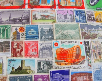 Modern Life is Rubbish 50 Vintage Architecture Postage Stamps Architectural Design Construction Engineering Medieval Churches Castles Home