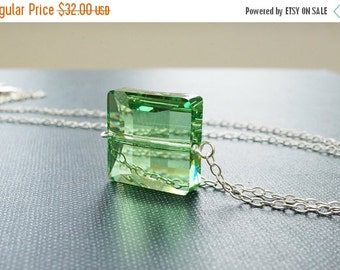 25OFFSALE Necklace, Crystal Necklace, Green Necklace, Peridot Necklace, Silver Necklace, Square Crystal Pendant, Stairway Bead, Swarovski, N