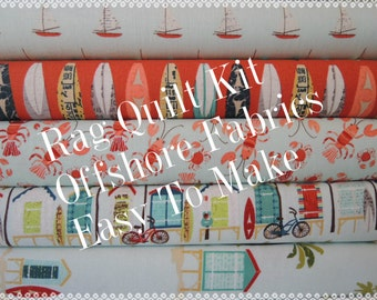 Rag Quilt Kit, OffShore, Kit 1, Surf, Hawaiian Designer Fabrics,  Easy to Make, Personalized