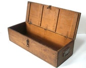 Antique Vintage Industrial Wood Box with Handles and Latch / I C Newman Co Inc Central Park Long Island N.Y. / Primitve Rustic Decor / OLD
