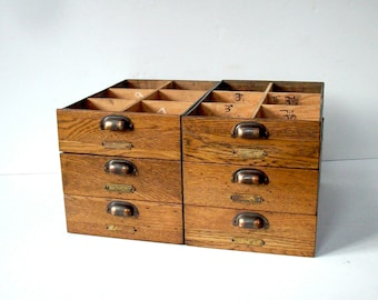 Vintage Divided Wood Drawers with Handles and Label Holder Hardware / Storage Organization / Set of 6 Drawers / Oak and Galvanized Metal