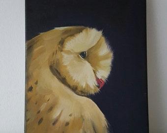 Barn Owl Oil on Canvas 9.2 x 12 inch