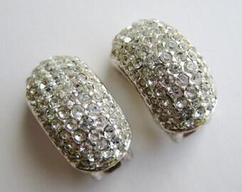 Vintage 80s Designer Christian Dior Silver Rhinestone Hoop Clip On Earrings