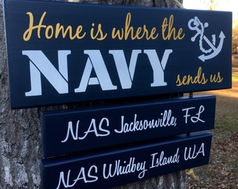 Reserved for Jessica - Home is Where the Air Force sends us Marine Corps, Coast Guard, Army, Navy Sends Us Sign US Military location duty st