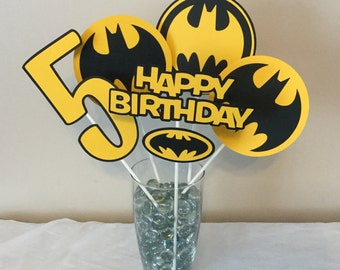5 Piece Batman Black and Yellow Centerpieces