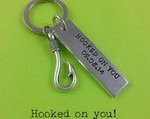 Anniversary Gift - Hooked On You Personalized Keychain - Hooked On You - Hook - Wedding Keychain - Hook Keychain