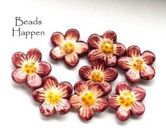 15mm Vintage Kim Craftsmen Ceramic Flowers, Maroon Flowers, (A-R3-C3), Quantity 8