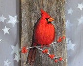 """Pretty Cardinal, authentic barnwood, rustic, hand painted, 5 1/2"""" x 10"""""""