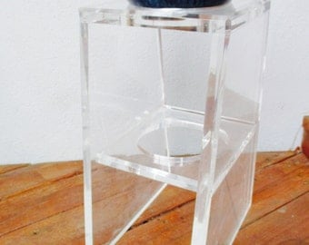Lucite Plant Stand  Lucite Display Table with Cut-Out End Table  Pedestal Umbrella Stand Tall Table Hollywood Regency Display