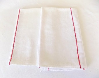 Bar or Kitchen Cotton Towels in White with Red Stripe Pair