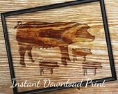 Pig Decor Printable Art Print, Instant Download Pig Art, Rustic Wood Decor Wall Art, Farm House Decor, 3 little Pigs, Farm Animal Print