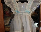 Childrens Vintage Baby Toddler Shear Pinafore Dress with Blue Ribbons Embroidery