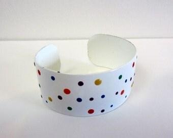 vintage cuff Bracelet white  multi color dots enamel