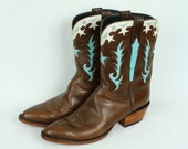 reserved reserved LUCCHESE cowboy boots with turquoise inlay handmade •  womens size 9.5