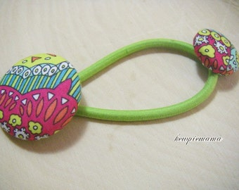 Handmade baby, toddler, girls covered button Ponytail holder(liberty of London)- green