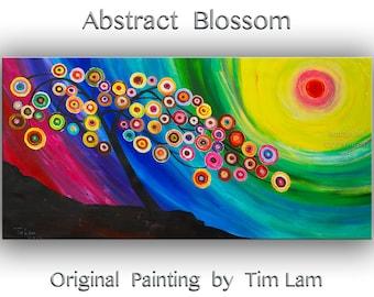 "Art, painting, Fine art, Flower painting, 48"" original art, Modern art,  multi-colors art, abstract art, Acrylic art, huge canvas panel art"