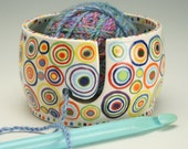 Ceramic Yarn Bowl for Knitting and Crochet, Knit Happy - Hand Painted Circles, Fiber Twine Bowl
