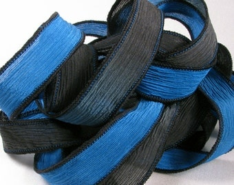 Silk Ribbon - Hand Dyed Silk Ribbon - Crinkle Silk Jewelry Bracelet Fairy Ribbon - Quintessence - Reflex Blue and Black