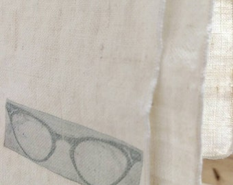 Vintage letterpress glasses on Repurposed napkin tea towl