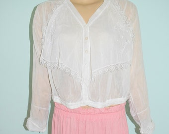 Antique Early 1900's Edwardian White Cotton Lace Trim Shirt Blouse Size 14 to 16