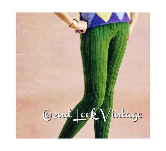 Tights Knitting Pattern : Vintage Knitting Pattern Ribbed Tights 1960s Hand Knit Leotard