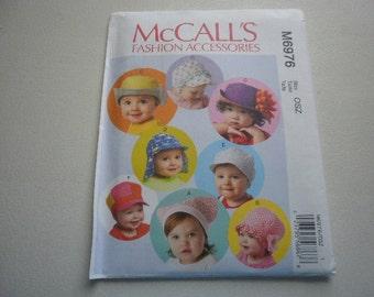Pattern Baby Infant Toddler Hats Caps Bonnets McCalls 6976