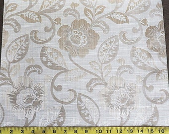 Custom Curtains Valance Roman Shade Shower Curtains in Ivory / Gold Floral Pattern Fabric
